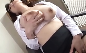 japanese school commandant masturbates in make an issue of office