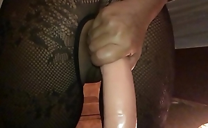 My Sexy Girlfriend, Dirty British Milf - I Filmed the Whore in Slow Motion chiefly My i-phone from Behind, Ramming a Huge Dildo Hard in Her Arse Hole - II