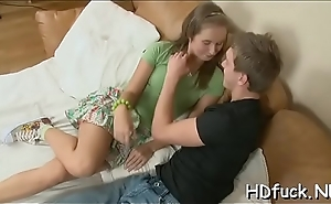 Little legal age teenager chick gives a consummate blowjob and gets slammed